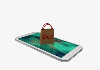 Handy mit einem Prozentzeichen und einer Einkaufstasche mit dem Text Sale, auf dem Display.