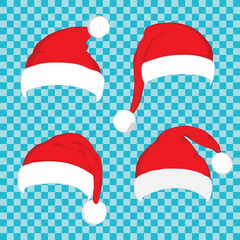 Santa hat set on blue transparent background. Vector Santa red hat. Big set of red santa hats. Red Santa hat isolated on blue.