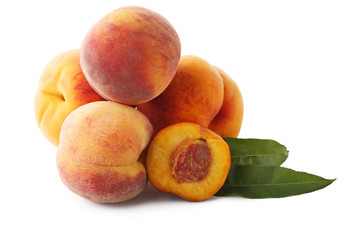 Ripe peaches fruit isolated on a white background