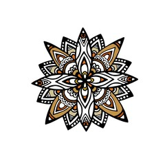 Mandala flower decoration, doodle round ornament, isolated design element on a white background. Vector geometric floral pattern. Tribal ethnic arabic, indian, turkish motif. Colorful abstract art
