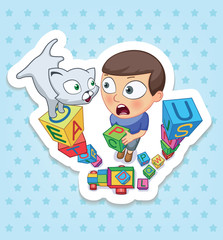 Boy and cat. Happy childhood of kids. Funny stickers