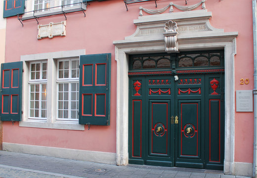 BONN, GERMANY - NOVEMBER 2015: Facade with entrance to the birth house of Ludwig von Beethoven in November 2015 in Bonn. Beethoven-Haus is where the composer was born in 1770, and now serves as museum