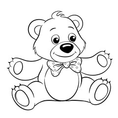 Cute cartoon bear. Vector black and white vector illustration for coloring book