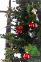 Image of decorated Christmas tree with balls and beads