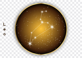 Leo zodiac constellations sign on beautiful starry sky with galaxy and space behind. Lion horoscope symbol constellation on deep cosmos background. Vector isolated