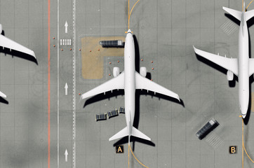 Airport runway with airplane (top view)