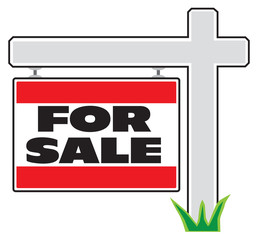 A realtor's yard sign is advertising real estate for sale