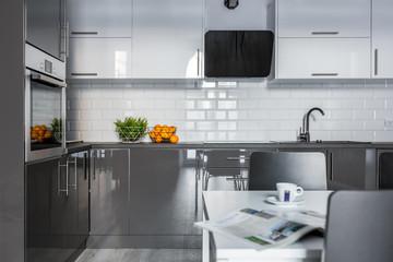 White and gray cabinets - fototapety na wymiar