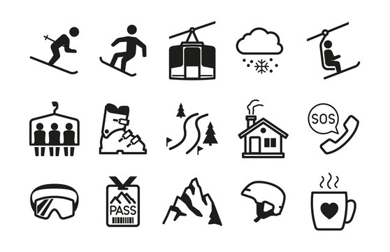 Ski resort icons black silhouettes