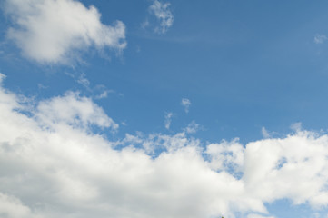 The light blue sky with white clouds for background or texture. Copy space