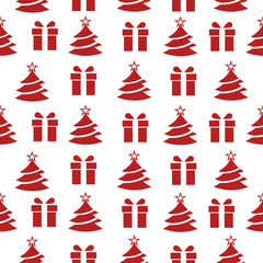 Abstract seamless new year pattern for girls, boys, clothes Creative vector new year background with gift, Christmas tree, wrap. Funny wallpaper for textile and fabric. Fashion new year pattern style.