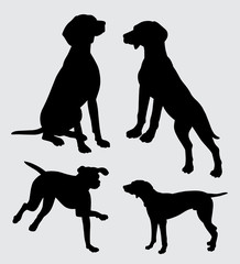 vizsla dog action silhouette good use for symbol, logo, web icon, mascot, sticker, sign, or any design you want.