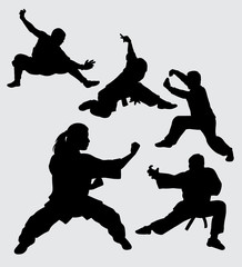 Martial art and kungfu sport silhouette. good use for symbol, logo, web icon, mascot, sticker, sign, or any design you want.