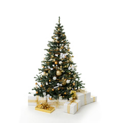Gold Christmas tree with golder patchwork ornament artificial star hearts balls bells presents for new year