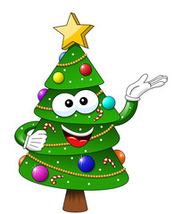 xmas christmas tree mascot character presenting isolated