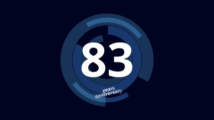 0:05 83 Year anniversary Digital Tech Circle Blue Background