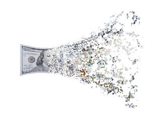 Hundred dollar bill splits.