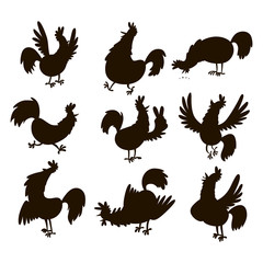 Cute cartoon rooster silhouette vector illustration chicken farm animal agriculture domestic bird character.