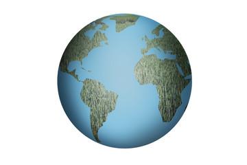 Planeta tierra con continentes de hierva.