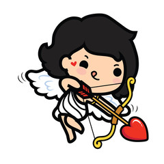 Happy Valentine's day , Cute cartoon Cupid girl shooting arrow heart