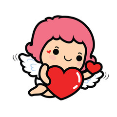 Happy Valentine's day , Cute cartoon Cupid girl with big heart
