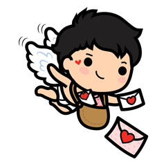 Happy Valentine's day , Cute cartoon Cupid boy sending love letters