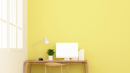 workplace and yellow wall in apartment or home - Interior design for artwork - 3D Rendering