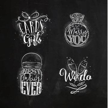 Wedding symbols chalk