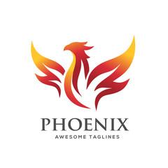 luxury phoenix logo concept, best phoenix bird logo design, phoenix vector logo,creative logo of mythological bird , a unique bird , a flame born from ashes