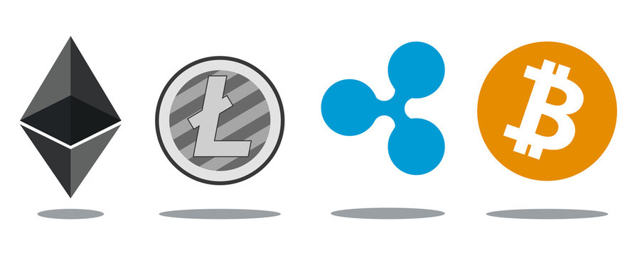 Flat vector illustration cryptocurrency logo ripple bitcoin litecoin ethereum altcoin