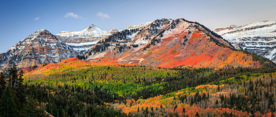 Autumn sunrise in the Wasatch Mountains, Utah, USA.