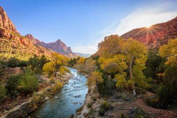 Virgin River Sunset, Zion, Utah.