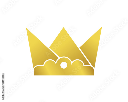 Vector Golden Crown With Bed Furniture Abstract Logo Symbol Stock