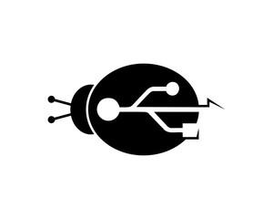 Turtle Beetle Simple Black USB Connector Sign Symbol Icon