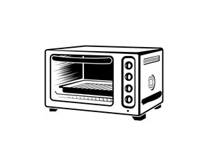 Illustration Black Oven for Cooking Bread Hand Drawing Logo Vector