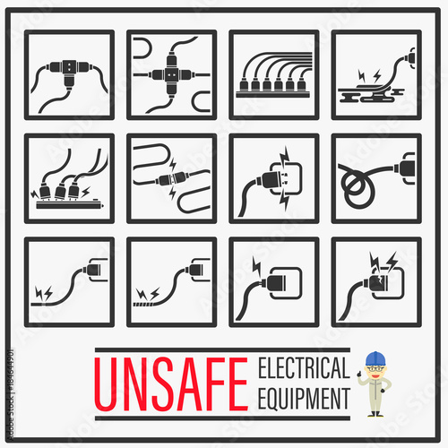 Set of signs and symbols of Unsafe electrical equipments, Unsafe