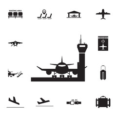 Aircraft in Airport icon. Set of airport element icons. Premium quality aviation graphic design collection icons for websites, web design, mobile app