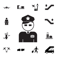 Policeman Officer avatar icon. Set of airport element icons. Premium quality aviation graphic design collection icons for websites, web design, mobile app