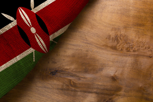 Flag of Kenya from rough fabric