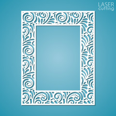 Laser cut paper lace frame, vector illustration. Ornamental cutout photo frame with pattern. Abstract vintage background. Element for wedding invitation and greeting card.