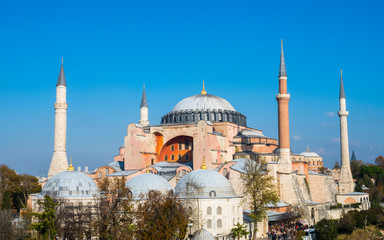 Exterior of the Hagia Sophia in Sultanahmet, Istanbul, on sunny day