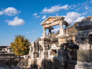 Historical ruins in the city in Ephesus, Turkey