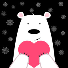 Funny cute polar bear with heart.