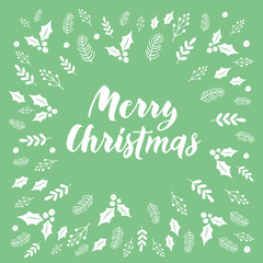 Hand drawn botanical background with Merry Christmas lettering. Vector, eps10.