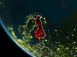 Satellite view of Finland at night