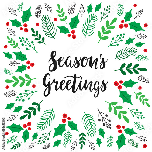 Seasons greetings christmas card botanical festive frame vector seasons greetings christmas card botanical festive frame vector eps 10 m4hsunfo