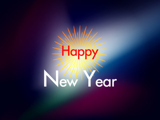 happy new year text on colorful spectrum background, Happy new year concept.