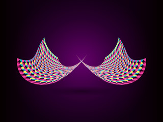Abstract colorful wing on drak purple background.