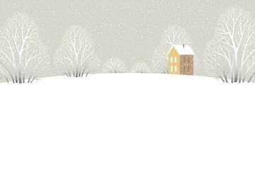 Фон для текста с домиком и зимними деревьями, стоящими среди заснеженной поляны.