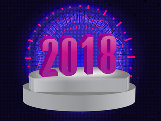 2018 Number 3D Style on white stage with abstract background
